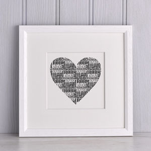 Personalised Vintage Style Shape Name Print - gifts for couples