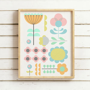 Pastel Retro Floral Print - pictures & prints for children