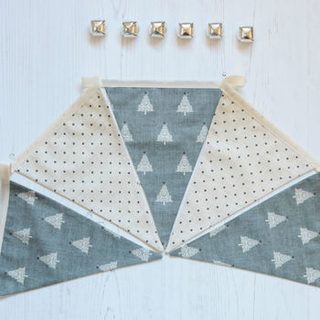 Grey Stars And Christmas Tree Bunting