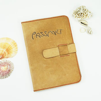 Personalisable 'Nomad' Leather Passport Case