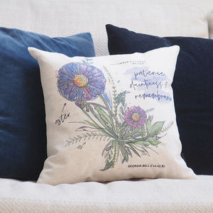 Personalised Birth Month Flower Cushion Cover - free delivery gifts to mainland UK