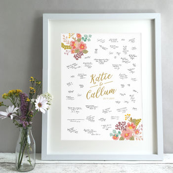 Floral Bouquet Personalised Wedding Guest Book Print
