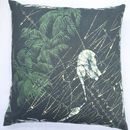 Linen Batik Cushion, Green Elephant