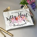 Personalised Shimmer Velvet Peonie Print Makeup Bag