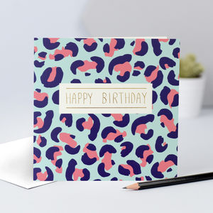 Animal Print Birthday Card With Pink And Blue Spots
