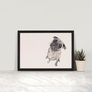It Wasn't Me Pug Illustration Print - posters & prints