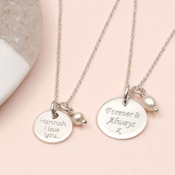 Personalised Sterling Silver Disc And Pearl Necklace