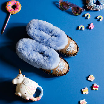 Sen Unicorn Periwinkle Sheepskin Slippers