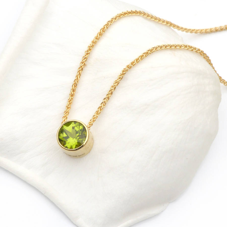 product original gold necklace birthstone peridot in august liliandesigns