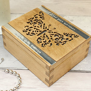 Personalised Wooden Butterfly Trinket Box - storage