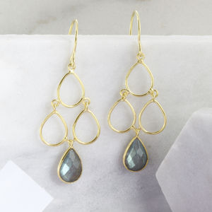 18ct Gold Vermeil Labradorite Decco Earrings - statement sparkle
