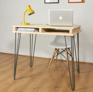 Reclaimed Industrial Pallet Office Desk Hairpin Legs - office & study