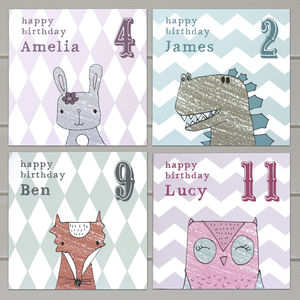 Personalised Children's Animal Birthday Card Pack - birthday cards
