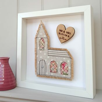 Framed Personalised Church Wedding Fabric Gift