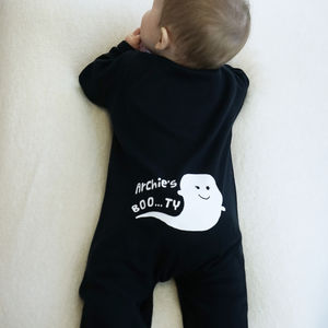 Personalised Boo…Ty Ghost Halloween Sleepsuit - fancy dress for babies & children