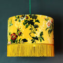 Flora X Fauna Floral Velvet Lampshades In Mustard