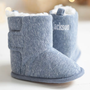 Personalised Blue Booties - babies' slippers