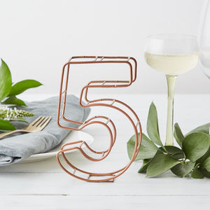 Copper Wire Wedding Table Number