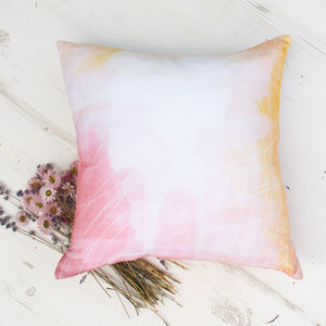 'Summer Dreams' Pastel Watercolour Abstract Cushion - millennial pink