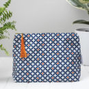 Safiya Toiletry Bag, Geometric Blue And Orange Wash Bag