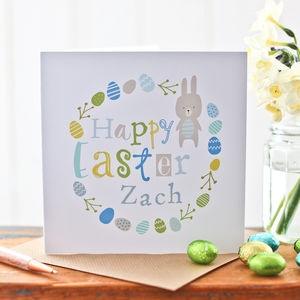Personalised Children's Easter Bunny Wreath Card