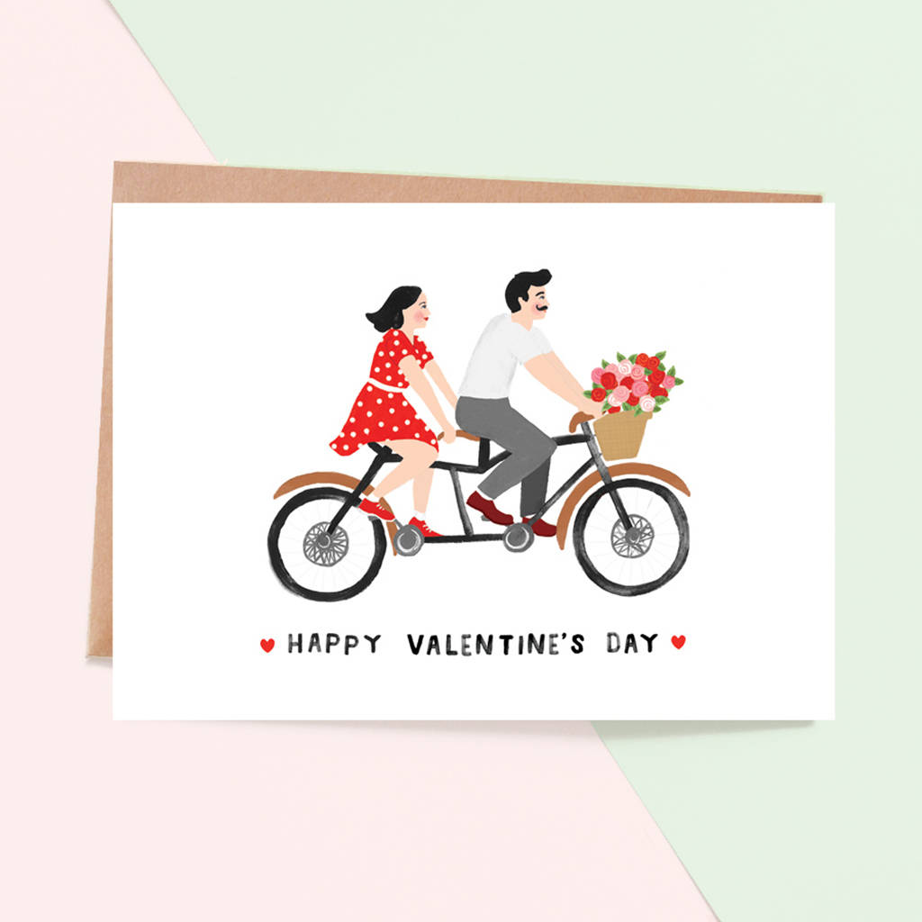 Tandem Bicycle Valentine's Day Card