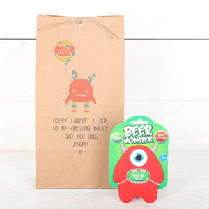 Personalised Monster Gift Bag And Bottle Opener - drink & barware