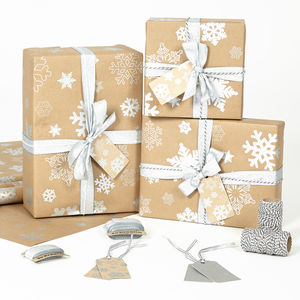 Snowflakes Brown Christmas Wrapping Paper