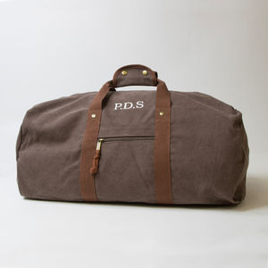 Personalised Vintage Canvas Holdall - mens