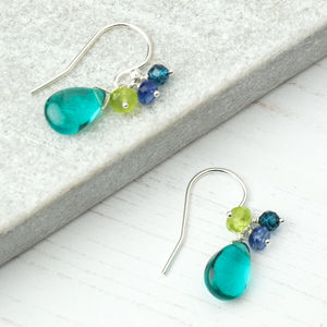 Blue Flourite Gemstone Cluster Earrings