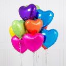 Inflated One Dozen Rainbow Bright Heart Foil Balloons