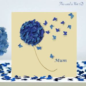 Mum Blue Hydrangea Butterfly Card, Mum Butterfly Card