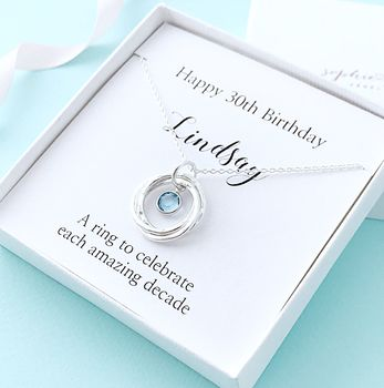 Personalised 30th Birthday Necklace With Birthstone
