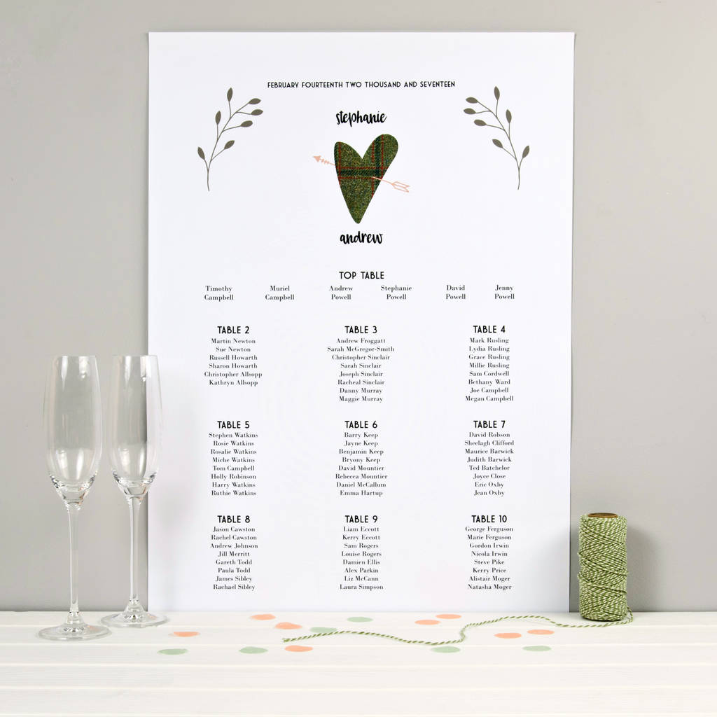 Wedding Seating Table Plan Tweed Design