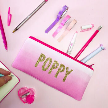 Personalised Pink Ombre Pencil Case