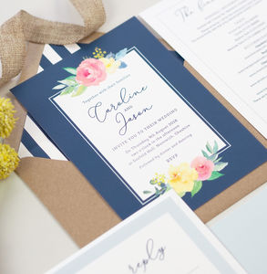 Caroline Navy Floral Wedding Invitations