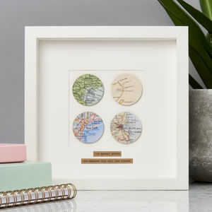 Personalised Four Circles Map Picture - baby's room