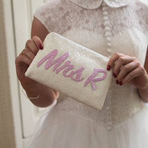 Personalised Mrs Bridal Clutch Bag - wedding fashion