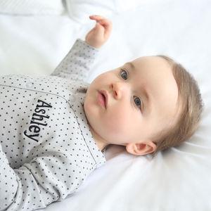 Personalised Star Print Sleepsuit Grey - shop by price