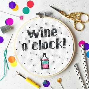 Wine 'O' Clock Cross Stitch Craft Kit - sewing kits