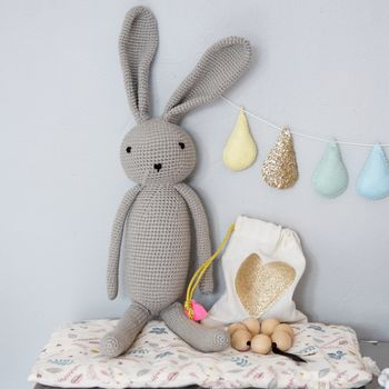 Crocheted Grey Bunny