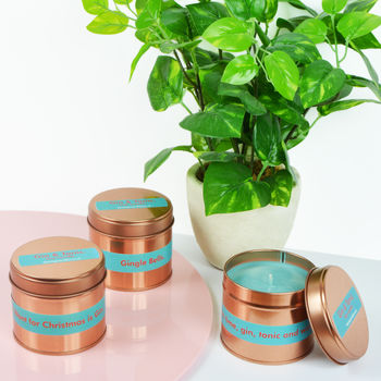 Gin And Tonic Christmas Rose Gold Tin Candle
