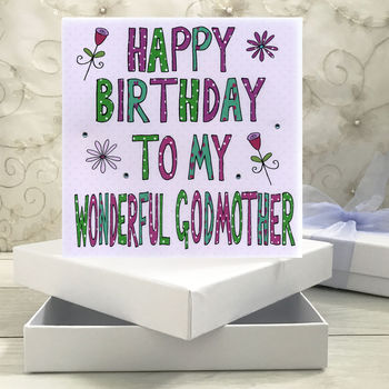 Personalised Godmother Birthday Book Card