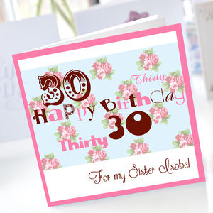 Personalised 30th Birthday Card - 30th birthday cards