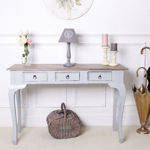 Antique Grey Wooden Console Table - storage & organisers