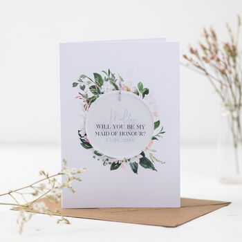 Will You Be My Maid Of Honour Circle Decoration Card