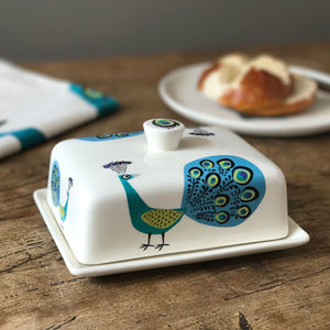 Peacock Butter Dish - tableware