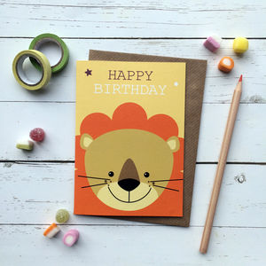 Cute Lion Birthday Card - birthday cards