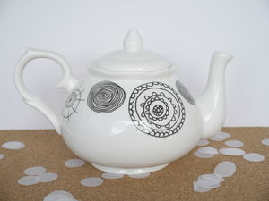 Bone China Teapot With Circle Design, Four Cup - kitchen