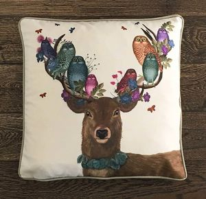Woodland Deer And Owls Decorative Cushion - bedroom